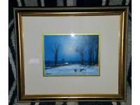 James J. Allen Signed print of Winter near Gingham, Norfolk