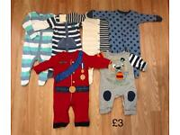 0-3 months boys all in ones/sleepsuits