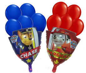 Paw Patrol - Double Sided Marshall & Chase Shield Shape Party Helium Balloons