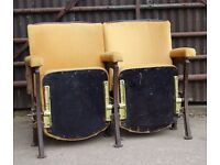 A Pair of Vintage Art Deco C1930s Yellow Velvet Cinema Theatre Seats REF108 UK Delivery Available
