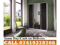 Trio 3 and 4 door Highe Gloss Wardrobe black colour/white colour