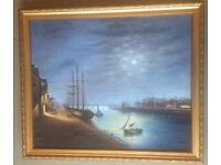 Painting of a river at nightt ime