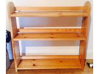 Pine wooden table-top shelving unit.