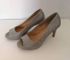 Ladies silver open toe heels
