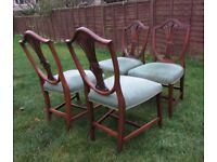 4 Vintage dining chairs Luxury bedroom chairs wide seat carved back stunning FREE DELIVERY