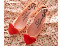 Vivienne Westwood Anglomania Pink Heels w Red Heart Melissa Lady Dragon UK6 EU39