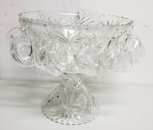 Vintage Anchor Hocking Early American Prescut 27 Piece Punch Bowl Set