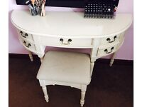 Laura Ashley Vanity Table / Clifton Pale French Grey Dressing Table with Brass Handles & Stool Set