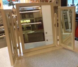 Cream dressing table mirror, triple bevelled untarnished mirrors. Good condition
