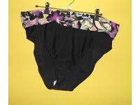 Kaleidoscope Bikini Bottoms. Black and Floral Print. Sizes: 20 or 22.