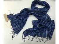 "Stunning "" PAUL SMITH "" Scarf Blue Multi Signature Stripe Pure Silk Scarf (192cms x 55cms)"