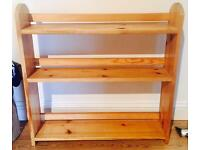 Pine wooden table-top shelving unit / mini bookcase.