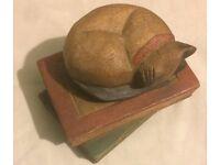 Vintage Wooden Cat on Books - Sculpture