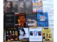 50 MUSIC RELATED BOOKS MANY ARTISTS GOOD CONDITION.
