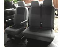 VW T5 Transporter Front Cab Seats Double Passenger Single Captains Driver