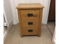 Solid Wood 3 drawer chest / bedside table and matching 1 drawer table with shelf