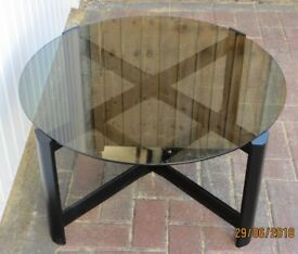 Circular Smoked-Glass Coffee Table