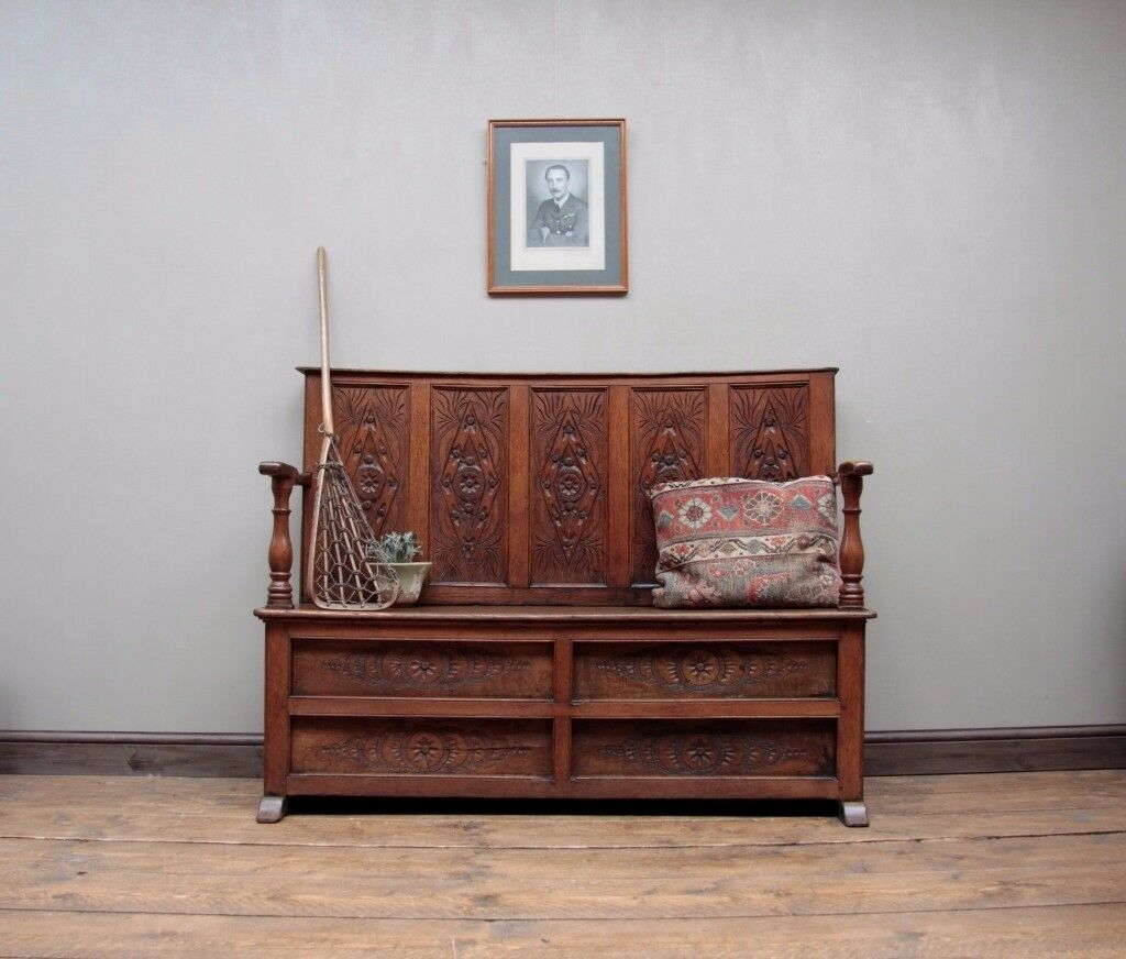 Antique Carved Oak Settle Bench Tavern Seat