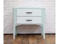 Vintage End Table Drawers by Lebus painted and upcycled in duck egg blue