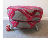 Pouffe DFS Grey & Red Swivel Swirl Pattern Large Round Footstool Furniture sofa DELIVERY AVAILABLE