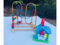 Wooden bead maze and music house toys