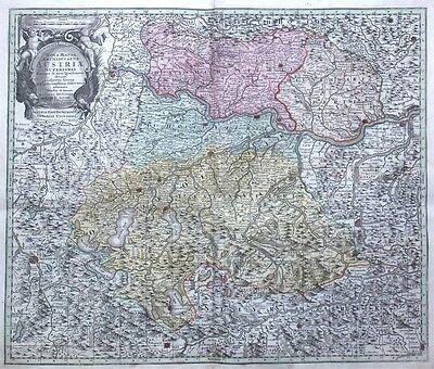 Kupferstichkarte Seutter Österreich Nova Mappa Archiducatus Austriae 1740