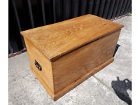 Antique Vintage Old Elm Chest / Wooden Trunk / Blanket Box