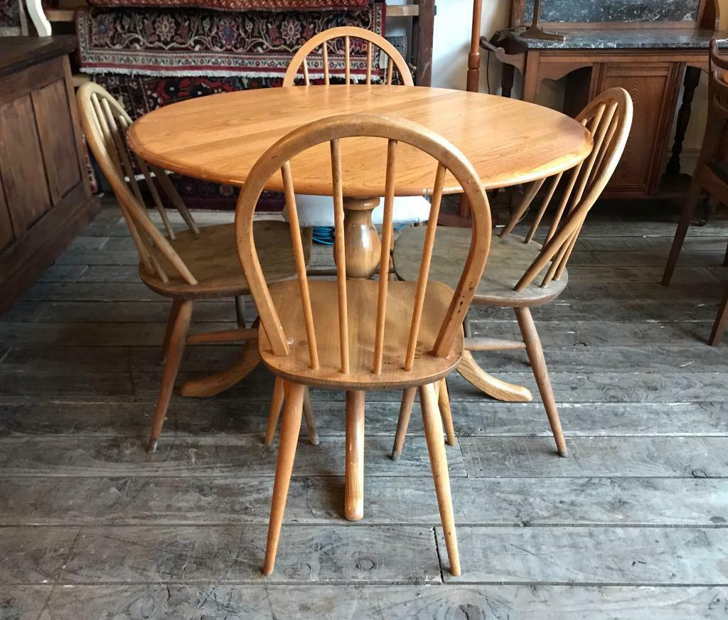 Amazing Ercol Round Dining Table With Four Chairs In Crystal Palace London Gumtree Download Free Architecture Designs Salvmadebymaigaardcom