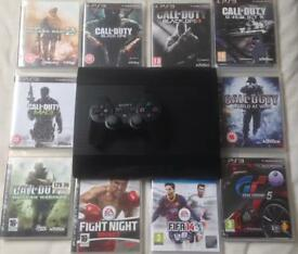 SONY PLAYSTATION SUPERSLIM 500 GB PS3 CONSOLE 1 PADS 10 GAMES COD CALL OF DUTY BUNDLE BLACK OPS FIFA