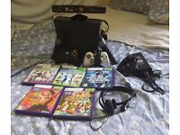 XBOX 360 250GB + XBOX Kinect + 2 Wireless Controllers + 2 Microphones + Headset + 5 Games Bundle