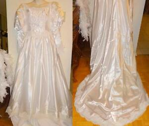 "Vintage OOAK WEDDING DRESS // XS 32-34"" BUST // WHITE SATIN // FEATHER BOA LACE GOWN BEADS /OAKVILLE 905 510-8720 offers"