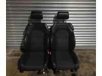 AUDI A6 C6 2004- S LINE Front Seats Half Leather in Black Adjustable
