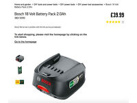 Bosch 18 Volt Battery Pack 2.0Ah and charger for drills sanders any green bosch tools