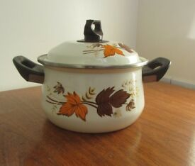 Vintage cooking pot floral paint approximately 4L capacity FREE DELIVERY WITHIN LE3 LEICESTER