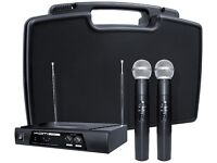 NEW - KAM Dual VHF Microphone system with 2 x Handheld Mics and Carry Case