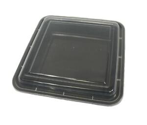 Black 48 oz 8'' x 8'' x 2.5'' Square Microwaveable Take Out Containers with Lids (50/CS)
