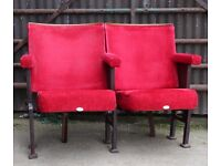 A Pair of Vintage Art Deco C1930s Red Velvet Cinema Seats REF102 UK Delivery Available