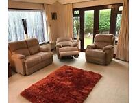 New Buck Suede 2 Seater Sofa + Electric Recliner Armchair 3 Piece Suite Immaculate Condition
