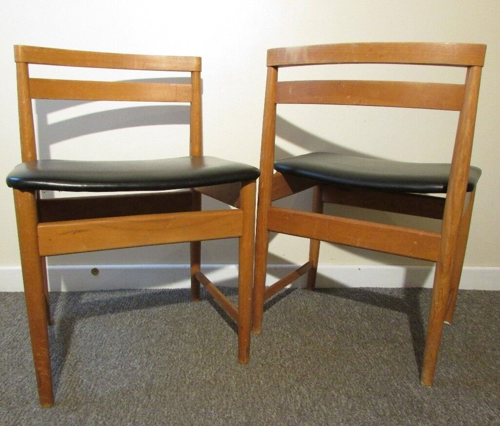 G Plan Retro Style Chairs Unusual Set 2 Teak Chairs Wide Seats Faux Leather  Kitchen Dining