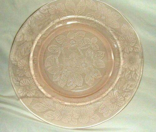 """VTG MACBETH EVANS DOGWOOD 9 1/4"""" PINK DEPRESSION GLASS DINNER PLATES SET OF 4"""