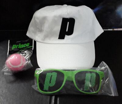 ((3) Prince Tennis White Adjustable Cap/Sunglasses/Pink Tennis Ball Keychain Lot)