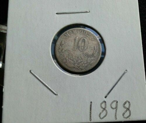 WORLD OLD COINS  MEXICO 1898-MoM  10 Centavos 902.7 Silver Rare Old Coin!!!!