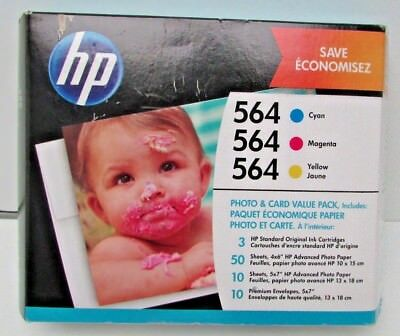 80 Black Value Pack - New GENUINE HP 564 Cyan/Magenta/Yellow VALUE PACK Photo Paper 2018
