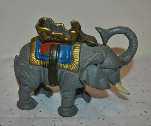 ANTIQUE Penny BANK Blue Grey ELEPHANT Mechanical HOWDAH SADDLE Original Cast Iro