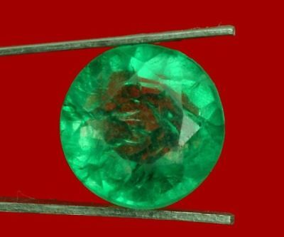 12.1mm (13.25cts) ROUND-FACET CERTIFIED NATURAL (GGL) COLOMBIAN EMERALD GEMSTONE