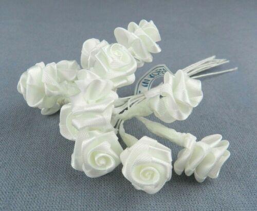 Miniature White Silk Roses on Wires - 1 Dozen