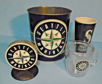 Mixed Lot Baseball Souvenirs Seattle Mariners Cup-Wastebasket-Tumbler-Stand  ()