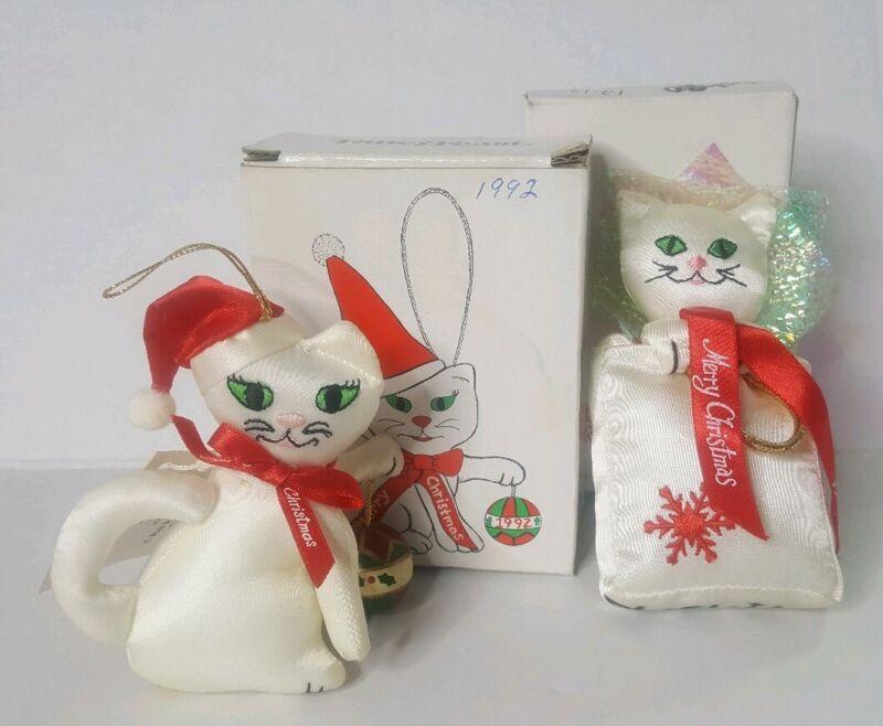 Lot of 2 1992 1990 Russ Berrie Fancy Feast Cat Happy Holidays Plush Ornaments