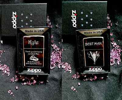 Custom made Zippo HOT design for- Wedding Unique Gift Usher / Best Man Etc  -