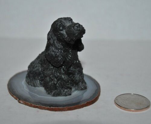"VTG ENGLISH COCKER SPANIEL Black DOG Figurine SANDICAST Marble base 2.4""H"